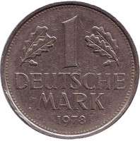 Монета 1 марка. 1978 год (J), ФРГ. Из обращения.