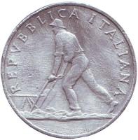 Монета 2 лиры. 1948 год, Италия. Из обращения.
