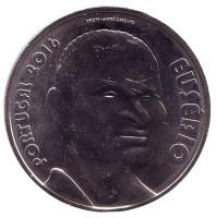 Эйсебио. Монета 7,5 евро. 2016 год, Португалия.