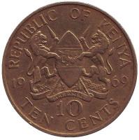 Монета 10 центов. 1969 год, Кения.