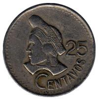 Индианка. Монета 25 сентаво. 1990 год, Гватемала.