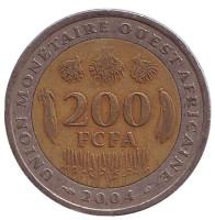 Монета 200 франков. 2004 год, Западная Африка.