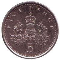Монета 5 пенсов. 2002 год, Великобритания.