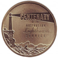 100 лет Содружеству управления маяками. Монета 1 доллар. 2015 год, Австралия.