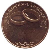 Свадьба. Обручальные кольца. Монета 7500 франков. 2006 год, Камерун.