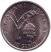 Гроздь бананов. ФАО. Король Тауфа'ахау Тупоу IV. Монета 10 сенити. 1981 год, Тонга.