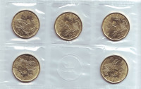 Игры XXXI Олимпиады в Рио-де-Жанейро (Бразилия). Банковский набор из 5 монет в запайке. 1 доллар. 2016 год, Канада.