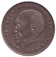 Конрад Аденауэр. Монета 2 марки. 1983 год (G), ФРГ. Из обращения.