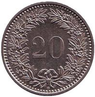 Монета 20 раппенов. 1987 год, Швейцария.