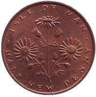 Цветущие сорняки. Монета 1/2 нового пенни. 1971 год, Остров Мэн. Из обращения.