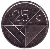 Монета 25 центов. 2004 год, Аруба.