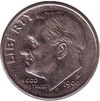 Рузвельт. Монета 10 центов. 1999 (P) год, США.