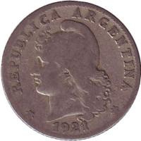 Монета 20 сентаво. 1921 год, Аргентина.