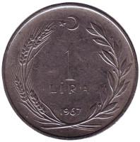 Монета 1 лира. 1967 год, Турция.