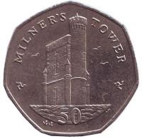 Башня Милнера. Монета 50 пенсов. 2008 год, Остров Мэн.