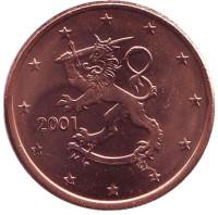 Монета 5 центов. 2001 год, Финляндия.
