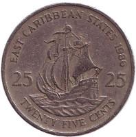 """Галеон """"Золотая лань"""" сэра Френсиса Дрейка. Монета 25 центов. 1986 год, Восточно-Карибские государства."""