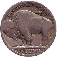 Бизон. Индеец. Монета 5 центов. 1917 год, США.