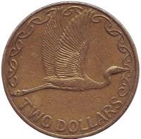 Белая цапля. Монета 2 доллара. 1999 год, Новая Зеландия.