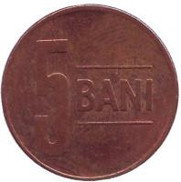 Монета 5 бани. 2013 год, Румыния.