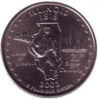 Иллинойс. Монета 25 центов (D). 2003 год, США.