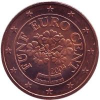 Монета 5 центов. 2004 год, Австрия.