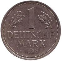 Монета 1 марка. 1984 год (J), ФРГ. Из обращения.