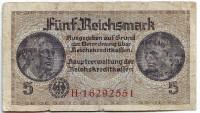 Банкнота 5 рейхсмарок. 1940-1945 гг.,Третий Рейх. (Оккупированные территории)