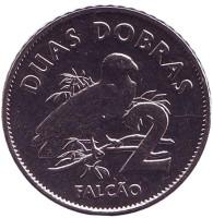 Сапсан. (Сокол). Монета 2 добры. 2017 год, Сан-Томе и Принсипи.