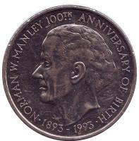 100 лет со дня рождения Нормана Вашингтона Мэнли. Монета 5 долларов. 1993 год, Ямайка.