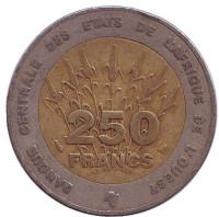 Монета 250 франков. 1996 год, Западная Африка.