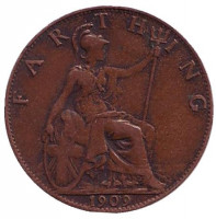 Монета 1 фартинг. 1909 год, Великобритания.