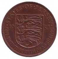 Монета 1/24 шиллинга. 1937 год, Джерси.