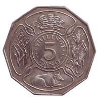 Монета 5 шиллингов. 1972 год, Танзания. Состояние - F.