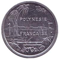 Монета 1 франк. 2015 год, Французская Полинезия.