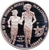 XXVI летние Олимпийские Игры. Атланта 1996. Бег. Паралимпийские игры. Монета 1 доллар. 1995 год, США.