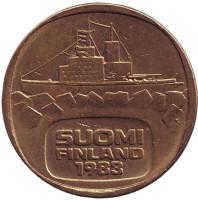 Ледокол Урхо. Монета 5 марок, 1983 год, Финляндия. Литера K.