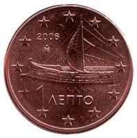 Монета 1 цент. 2006 год, Греция.