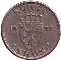 Монета 1 крона. 1957 год, Норвегия.