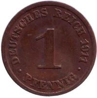 Монета 1 пфенниг. 1911 год (J), Германская империя.