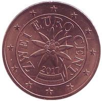 Монета 2 цента, 2017 год, Австрия.
