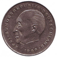 Конрад Аденауэр. Монета 2 марки. 1986 год (F), ФРГ. Из обращения.