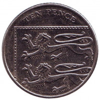 Монета 10 пенсов. 2015 год, Великобритания. (Старый тип)