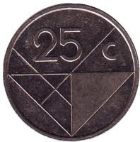 Монета 25 центов. 2005 год, Аруба.