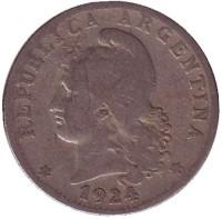 Монета 20 сентаво. 1924 год, Аргентина.