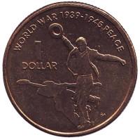60 лет со дня окончания Второй Мировой войны. Монета 1 доллар. 2005 год, Австралия.