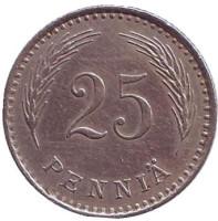 Монета 25 пенни. 1929 год, Финляндия. Редкая!