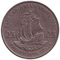 """Галеон """"Золотая лань"""" сэра Френсиса Дрейка. Монета 25 центов. 1997 год, Восточно-Карибские государства."""