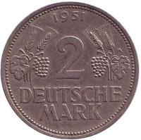 Монета 2 марки. 1951 год (F), ФРГ.