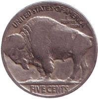 Бизон. Индеец. Монета 5 центов. 1920 год, США.